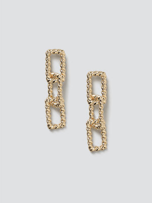 Gina Tricot smycke Gold Rectangle Link Drop Earrings