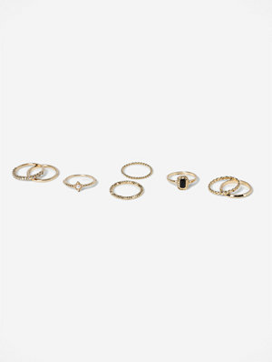Gina Tricot GOLD PEARL & STONE RING MULTIPACK