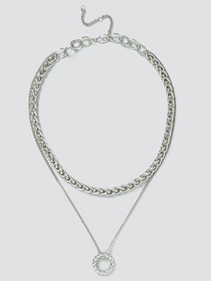 Gina Tricot halsband Silver Twisted Circle Layered Necklace