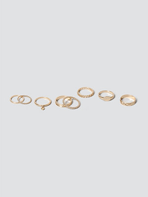Gina Tricot Gold Heart Ring Pack