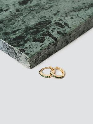 Gina Tricot örhängen Real Gold Plated Emerald Rhinestone Hoops