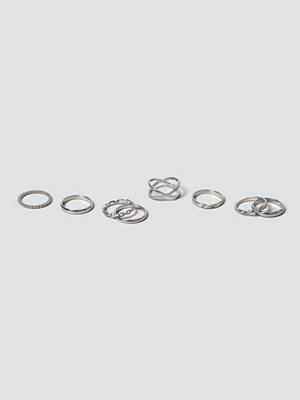 Gina Tricot Silver Clean Twist Ring Pack