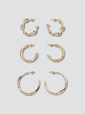 Gina Tricot örhängen Gold Twisted Hoop Pack