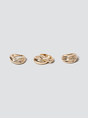 Gina Tricot Gold Chunky Sculpt Ring Pack