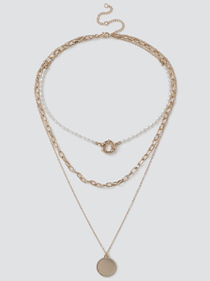 Gina Tricot halsband Gold Pearl & Disc Layered Necklace