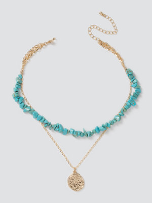 Gina Tricot halsband Turquoise Chipping & Coin Layered Choker