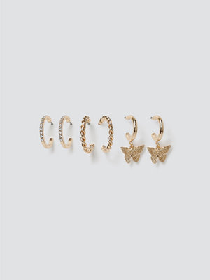 Gina Tricot örhängen Gold Butterfly Hoop Multipack