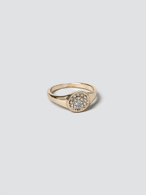 Gina Tricot Gold Pave Signet Ring