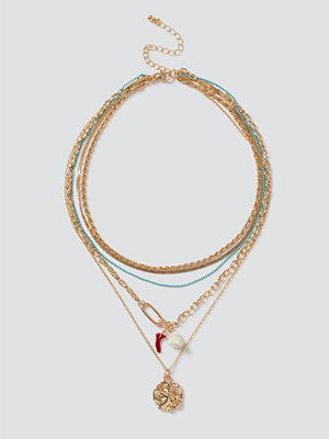 Gina Tricot halsband Coral & Turq Chain Layered Necklace