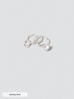 Gina Tricot örhängen Sterling Silver Crystal Hoops