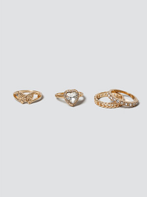 Gina Tricot Mega Heart & Butterfly Ring Pack