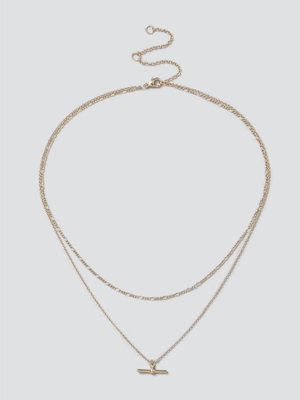 Gina Tricot halsband Finer Gold T-Bar Layered Necklace