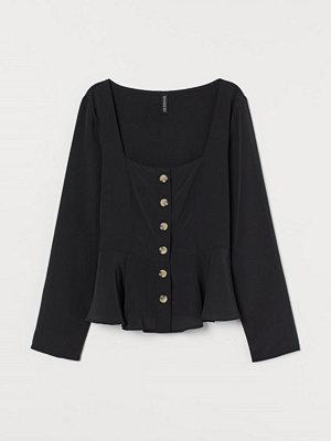 H&M Blus med knäppning svart
