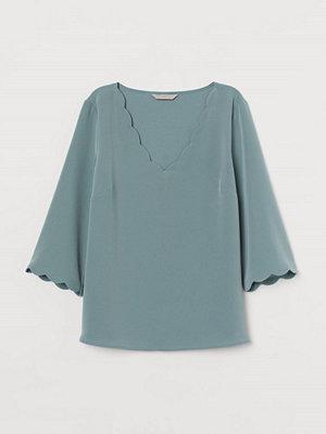 H&M Blus med uddkant grön