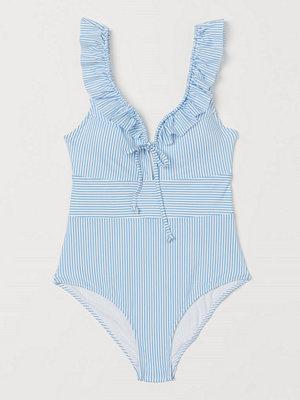 Baddräkter - H&M Baddräkt med volanger blå