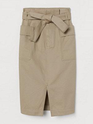 H&M Paper bag-kjol beige