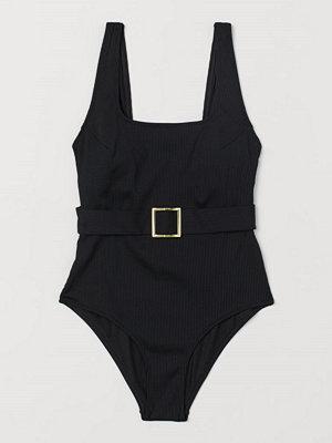 Baddräkter - H&M Ribbad baddräkt med skärp svart