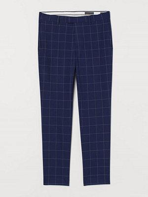Byxor - H&M Rutig kostymbyxa Skinny Fit blå