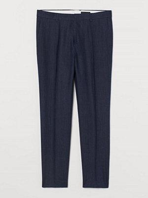 Byxor - H&M Kostymbyxa i linne Slim Fit blå