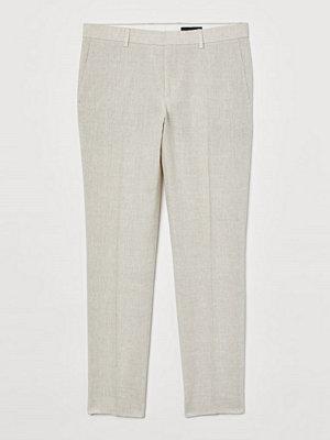 Byxor - H&M Kostymbyxa i linne Slim Fit vit