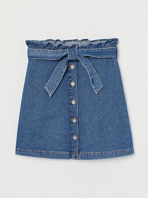 H&M Paper bag-kjol i denim blå