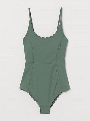 H&M Baddräkt med uddkanter grön