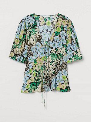 H&M Blus med puffärm grön