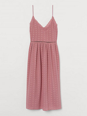H&M Klänning med broderie anglaise rosa