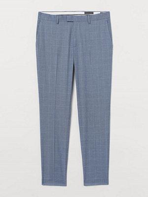 H&M Rutig kostymbyxa Skinny Fit blå