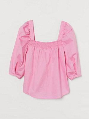 H&M Bomullsblus med puffärm rosa