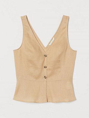 H&M V-ringad blus i linne beige