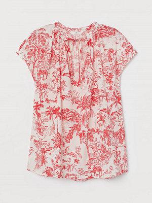 H&M Bomullsblus med knytband röd