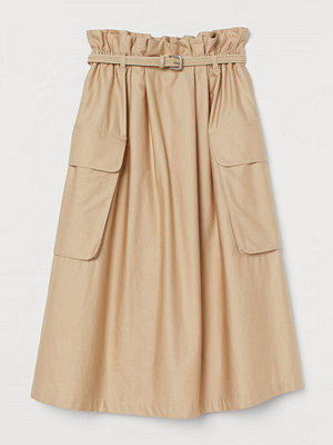 Kjolar - H&M Paper bag-kjol i bomullssatin beige