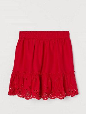 H&M Broderad kjol röd