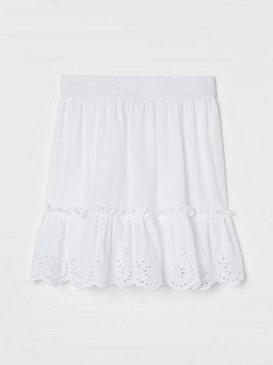 H&M Broderad kjol vit