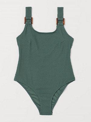 H&M Ribbad baddräkt grön