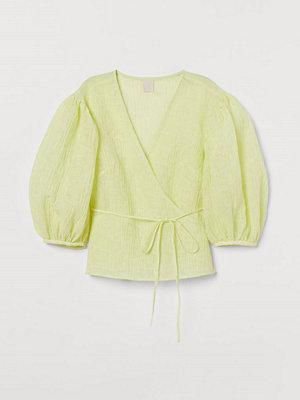 H&M Krinklad omlottblus gul