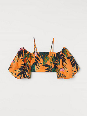 H&M Poplinblus med puffärm orange