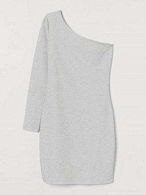 H&M Glittrig one shoulder-klänning vit