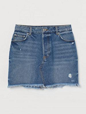 H&M Jeanskjol med rå kant blå
