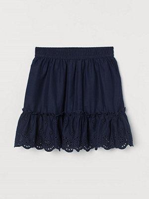 H&M Broderad kjol blå
