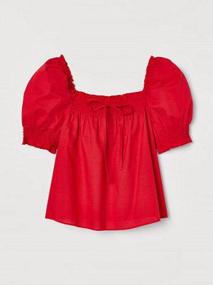 H&M Bomullsblus med puffärm röd