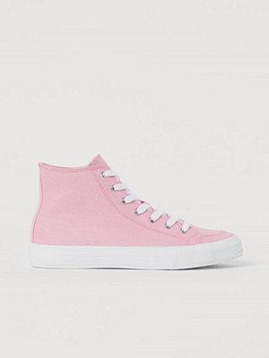 H&M Ankelhöga sneakers i canvas rosa