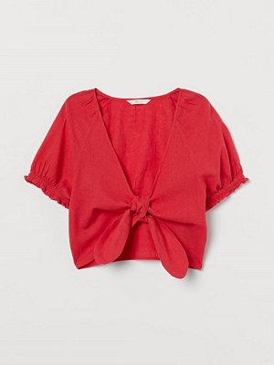H&M Knytblus i linmix röd