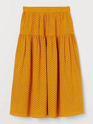 H&M Kjol med broderie anglaise gul
