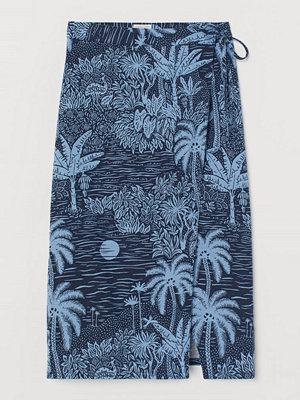 H&M Omlottkjol i linmix blå