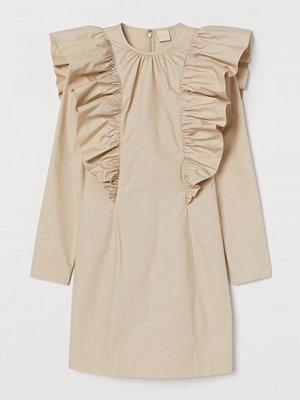 H&M Volangklänning i bomull beige