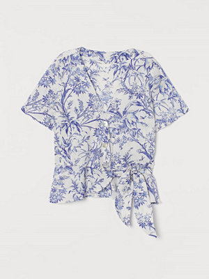 H&M Omlottblus i linne vit