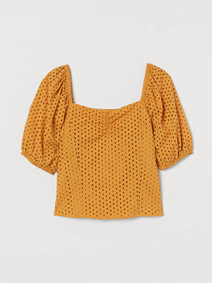 H&M Blus med broderie anglaise gul