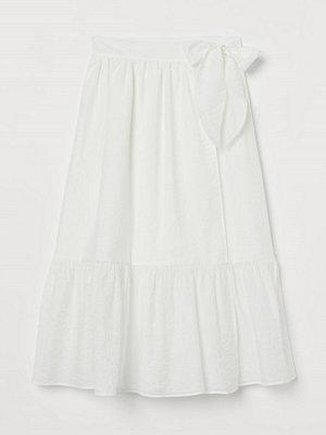 H&M Kjol med rosett vit